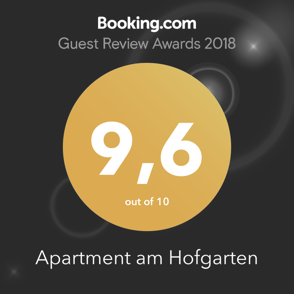 Booking.com Guest Review Award: 9,6 out of 10